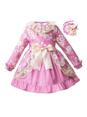 (Only 12Y )Pink Floral Girl Dress