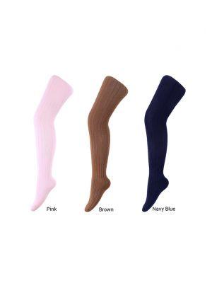 3 Pairs 100% Soft Cotton Girls Pantyhose(Pink, Brown, Navy Blue)