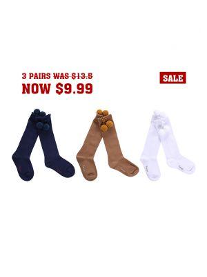 3 Pairs Girls Keen-length Pom Pom Socks(White, Camel, Navy Blue )