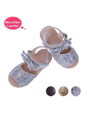 Silver Glitter Sequin Girls Party Shoes With Handmade Bow-knot