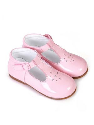 Pink New Design Microfiber Leather Girls Hollow Shoes