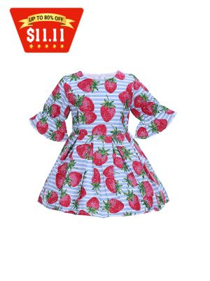 Sweet Kids Dress Girls With Strawberry Printed