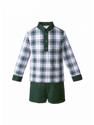 Green Grid Boys Clothing Sets