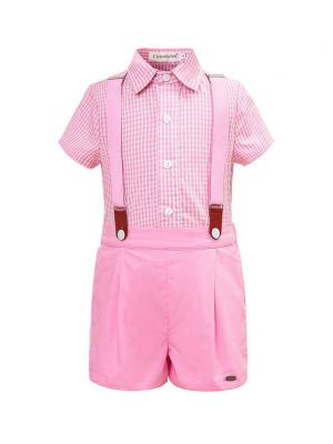 (ONLY Left 5Y 6Y 8Y ) Pink Grid Boy Clothing Set