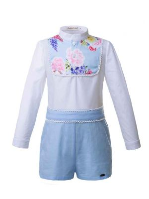 Blue Flower Printed Boy Clothing Set