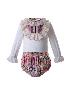 (Only 6M-18M)Baby Clothing Sets With Flower Printed Shorts