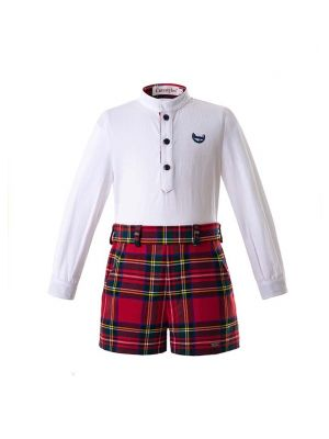 Christmas Boys Clothing Sets White Shirt With Red Stripe Shorts