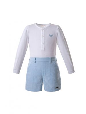 New Boys Clothing Sets White Shirt + Blue Short Cotton Boys Wear