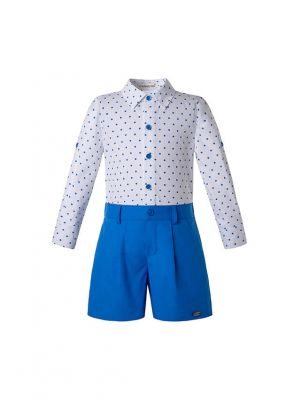 New Babies Clothing Set White Dot Top + Navy Shorts