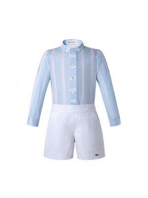 Light Blue Stripe Stand Collar Boy Clothing Set + White Shorts