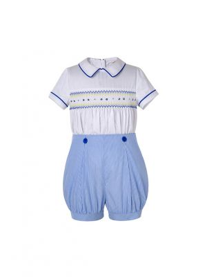 Boys Summer Blue Smocked Outfits White Top + Blue Shorts