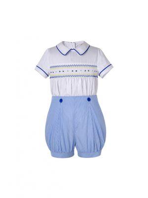 Boy White Smocking Top + Blue Shorts