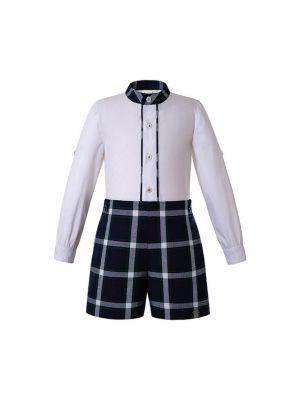 Boutique Boys Button Clothing Sets White Shirt +  Grid Shorts