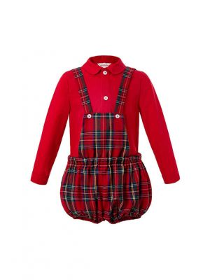 Red Boutique Toddler Boys Clothing Set Red Shirt + Grid Suspenders Pants