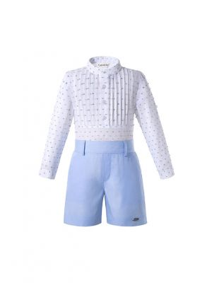 Boutique Light Blue Boys Kids Clothing Summer Outfit White Shirt + Light Blue Shorts