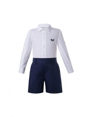 Boys Kids Clothing Boutique Summer Outfit White Polka Dot Shirt + Black Shorts