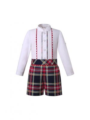Boutique Kids Boys England Style Clothing Sets White Shirt + Plaid Shorts