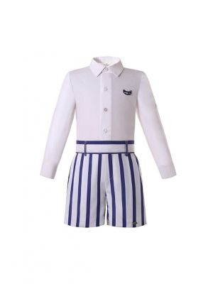 Boys White Long Sleeve Top + Blue White Striped Shorts