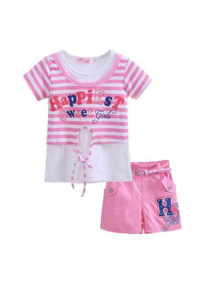 Girl Clothing Set Pink And White Stripe