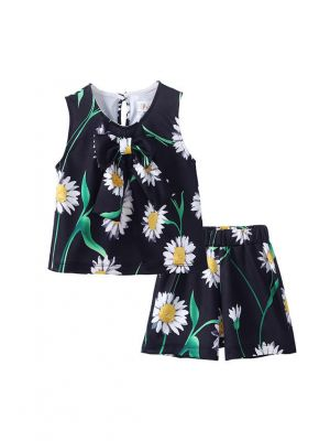 Girls Summer Clothing Sets Chrysanthemum