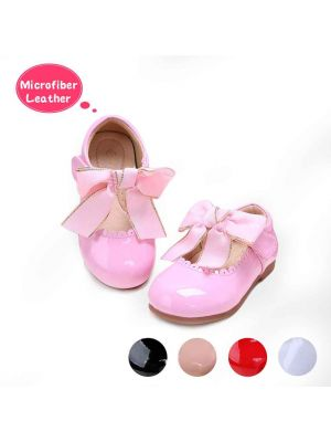 Pink Microfiber Leather Girls Shoes With Handmade Bow-knot
