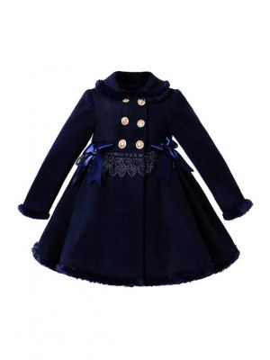 Sweet Navy Blue Girls Coat with Lace and Bows