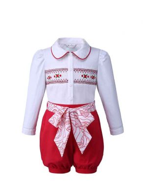 Solid Smocking Girl Clothes Set