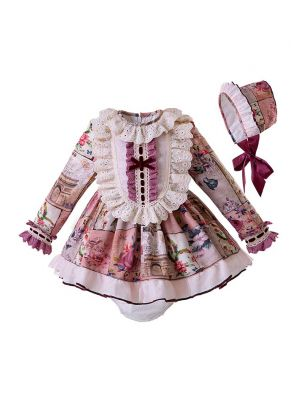 (Pre-sale products) Babies Lace Bow Clothing Set With Bow Top +Bloomers + Bonnet