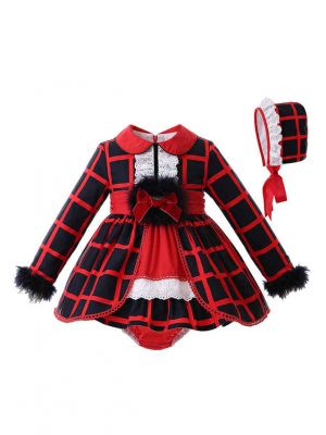 Red Turn down Collar Babies Clothing Set +Bloomers + Bonnet