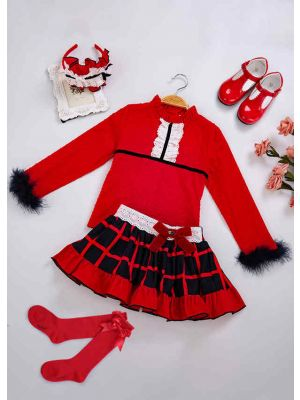 5 pcs Matching Sets Christmas Red Plaid Clothing Sets + Handmade Headband + Shoes + Socks