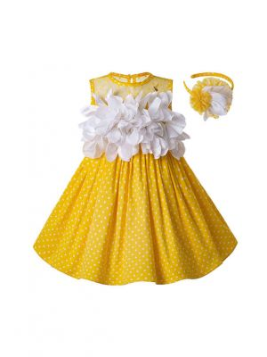 Newest Girls Easter Dress Summer White Flower Sleeveless Yellow Cotton Kids Dress  + Handmade Headband