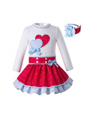(Only 2Y 8Y)  New Long Sleeve Boutique With Red Clothing Sets + Headband