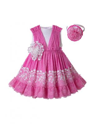 Newest Kids Party Pink Lace Sleeveless Flower Dress With Headband