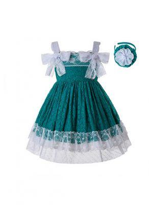 Newest Green Lace Flower Dress With Headwear