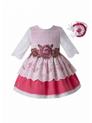 Girl Pink Flower Embroidered Lace Princess Dress + Handmade Headband