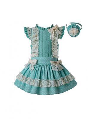 3 Pieces Summer Mint Green Girls Party Clothing Set Round Collar Flower Cotton Shirt + Lace Skirt + Handmade Headband
