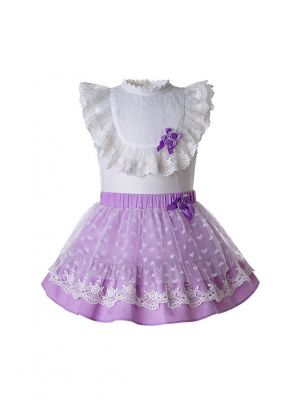 Purple Heart-shape Mesh Flower babies Clothing Set White Shirt + Purple Skirt