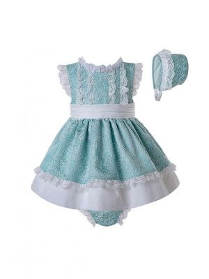 3 Pieces Mint Green Slubbed Cotton Jacquard Baby Dress  +  Bloomers  + Bonnet