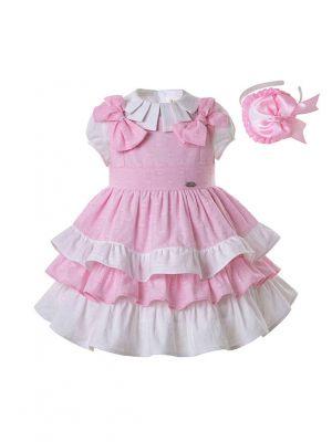 3 pieces Girls Pink Clothing Set White Blouse + Pink Layered Dress + Handmade Headband