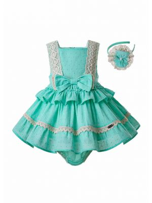 Mint Green Toddler Girl  Boutique Lace Dress + Handmade Headband