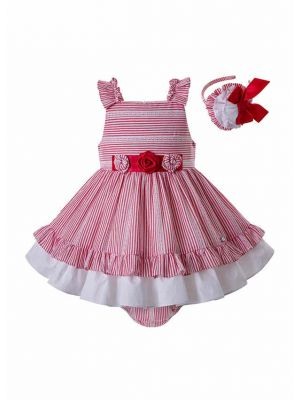 Red Stripe Toddler Babies Summer Clothes Set + Bloomers + Bonnet