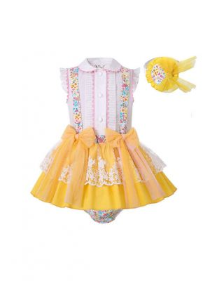 3 Pieces Babies Easter Ruffled Flower Print Boutique Outfits + Cute Bloomers + Hat