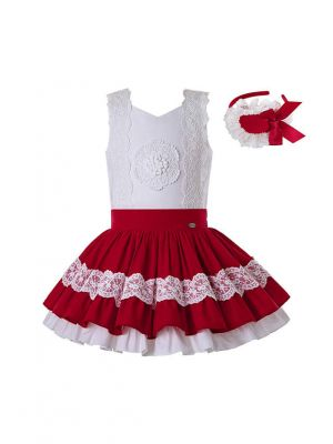 2020 Summer Girls Clothing Set Red Lace Shirt + Red Princess Skirt +Hand Headband