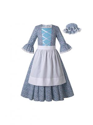 Blue Pioneer Girls Dress Colonial Prairie