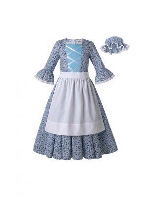 Blue Pioneer Girls Dress Colonial Prairie Costume