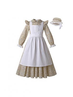 Double-Necked Maid Pleated Dress+Hat