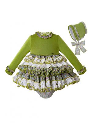 2019 Popular Avocado Color 3 Pieces Babies Knit Fluffy Dress + Bloomers + Hat