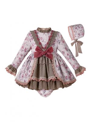 3 Pieces Babies White Girl Infant Clothes Flower Print Baby Girl Dress + Bloomers + Bonnet
