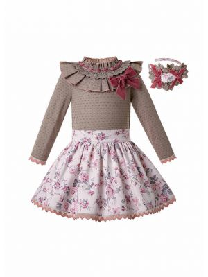 Autumn Girls Bow Children Brown Dot Blouse + Flower Print Skirt Girl Clothing Set + Hand Headband