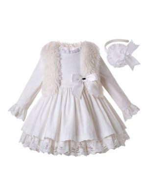 3 Pieces White Lace Corduroy Cotton Girls Autumn Dress + Faux Fur Vest + Handmade Headband